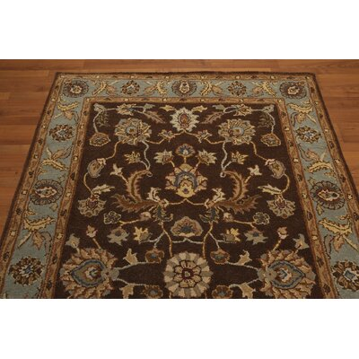One-of-a-Kind Rempe Hand-Tufted Wool Chocolate/Aqua Area Rug