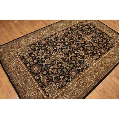 One-of-a-Kind Reichert Hand-Knotted Wool Black/Beige Area Rug