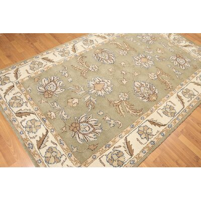 One-of-a-Kind Reider Hand-Knotted Wool Green/Beige Area Rug