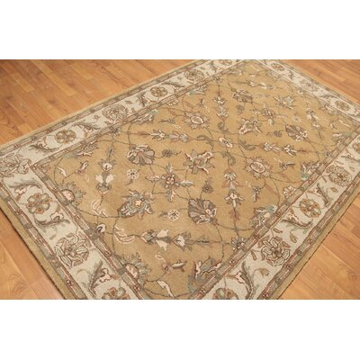 One-of-a-Kind Reidy Hand-Knotted Wool Tan/Aqua Area Rug