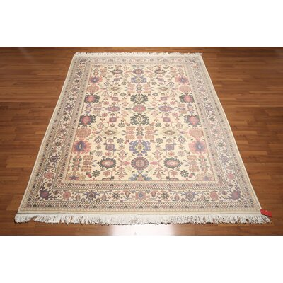One-of-a-Kind Repass Oriental Hand-Knotted Wool Ivory/Pale Pink Area Rug