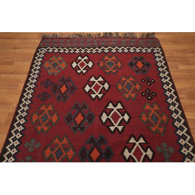 One-of-a-Kind Rarick Kilim Persian Hand-Knotted Wool Burgundy/Beige Area Rug