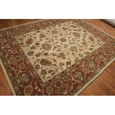 One-of-a-Kind Goldener Hand-Tufted Wool Rust/Beige Area Rug
