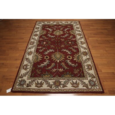 One-of-a-Kind Dilorenzo Hand-Tufted Wool Red/Ivory Area Rug
