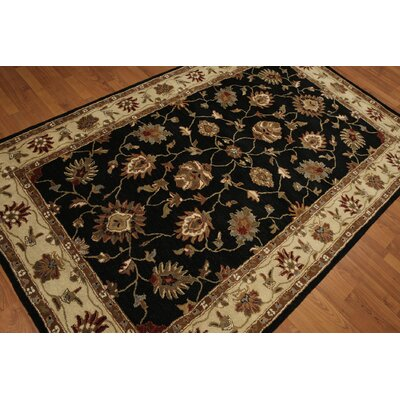 One-of-a-Kind Dimaggio Hand-Tufted Wool Black/Beige Area Rug