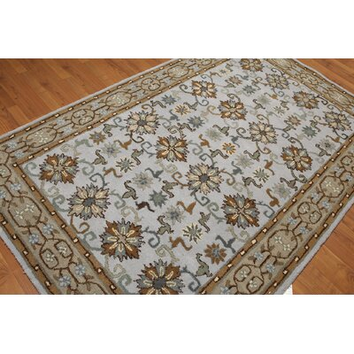 One-of-a-Kind Dimatteo Hand-Tufted Wool Aqua/Brown Area Rug