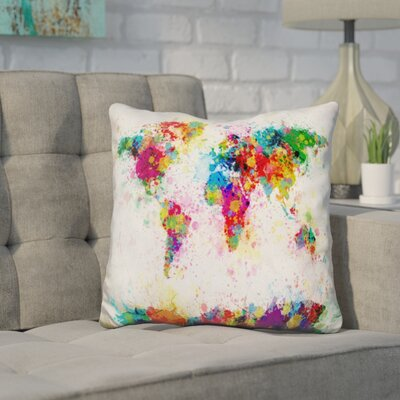 Corlew World Map Paint Splashes Throw Pillow