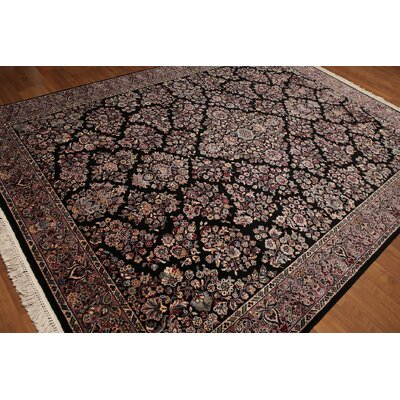 One-of-a-Kind Renz Persian Hand-Knotted Wool Black/Pale Pink Area Rug