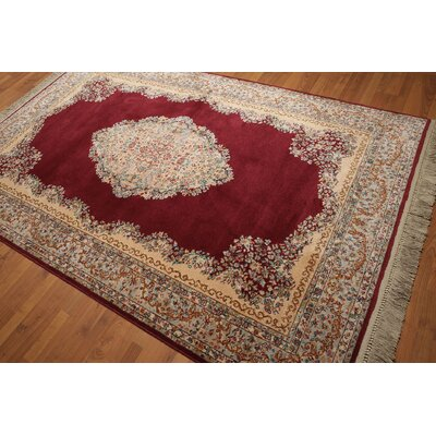 One-of-a-Kind Ransdell Wool Deep Red/Aqua Area Rug