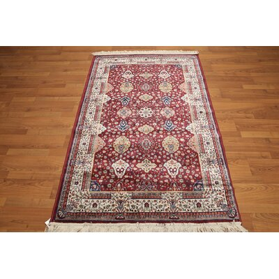 One-of-a-Kind Gloucester Hand-Knotted Silk Red/Blue Area Rug