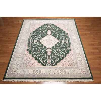 One-of-a-Kind Ranson Hand-Knotted Wool Emerald Green/Pink Area Rug