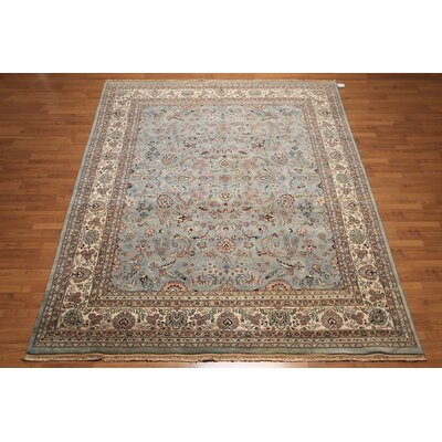 One-of-a-Kind Rasnick Antique Hand-Knotted Wool Blue/Ivory Area Rug