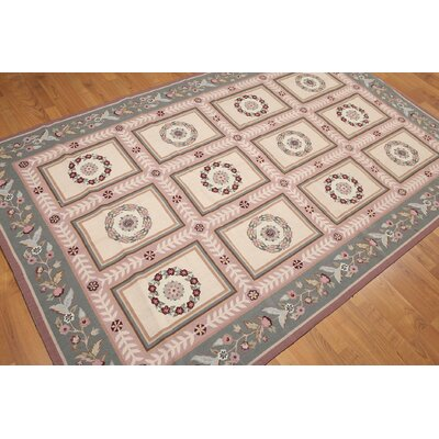 One-of-a-Kind Aubushan Persian Oriental Hand-Knotted Wool Beige/Pink Area Rug