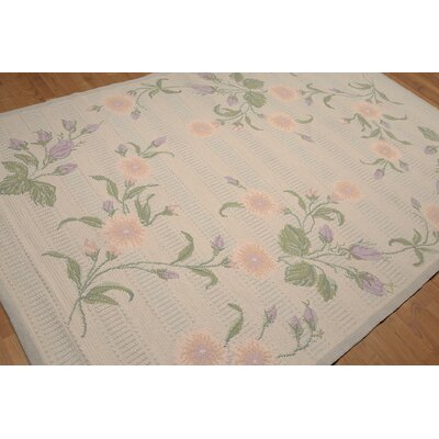 One-of-a-Kind Portugese Hand-Knotted Wool Gray/Lavender Area Rug