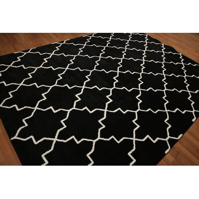 One-of-a-Kind Lebowitz Modern Hand-Woven Wool Black/White Area Rug