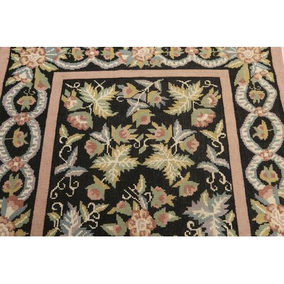 One-of-a-Kind Portugese Hand-Woven Wool Charcoal/Rose Area Rug