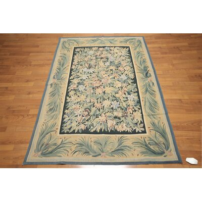 One-of-a-Kind Renteria Hand-Knotted Wool Green/Gold Area Rug