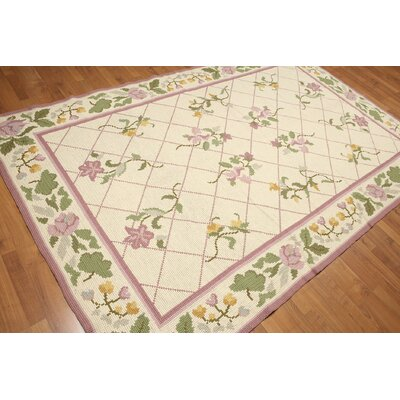 One-of-a-Kind Rentz Hand-Knotted Wool Beige/Pink Area Rug