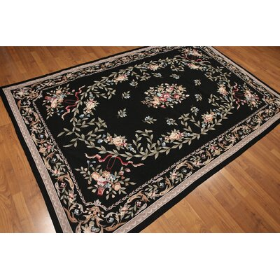One-of-a-Kind Persian Oriental Hand-Woven Wool Black/Tan Area Rug