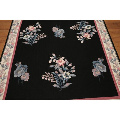 One-of-a-Kind Persian Oriental Hand-Woven Wool Black/Beige Area Rug