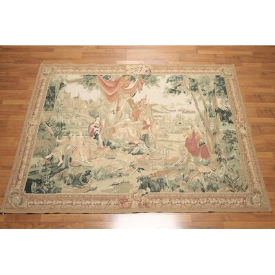 One-of-a-Kind Reny French Aubusson Tapestry Needlepoint Hand-Knotted Wool Beige/Brown Area Rug