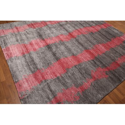 One-of-a-Kind Lossett Tibetan Contemporary Hand-Knotted Gray/Pink Area Rug
