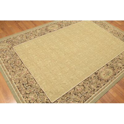 One-of-a-Kind Persian Aubushan Oriental Hand-Woven Wool Greenish Gold/Chocolate Area Rug