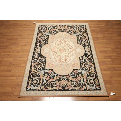 One-of-a-Kind Aubushan Persian Oriental Hand-Knotted Wool Beige/Black Area Rug