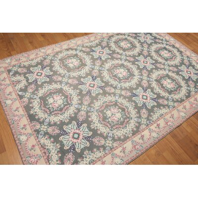 One-of-a-Kind Aubushan Persian Oriental Hand-Knotted Wool Olive Green/Rose Area Rug