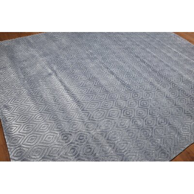 One-of-a-Kind Coury Hand-Knotted Tone on Tone Bluish Gray Area Rug