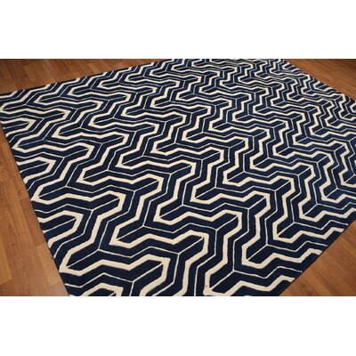 One-of-a-Kind Canchola Contemporary Hand-Knotted Wool Navy Blue/Ivory Area Rug