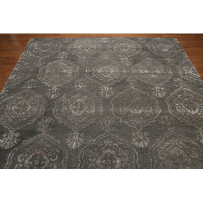 One-of-a-Kind Hackney Hand-Knotted Tone on Tone Greenish Gray Area Rug