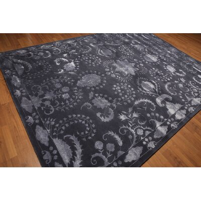 One-of-a-Kind Grosvenor Transitional Hand-Knotted Tone On Tone Aubergine Area Rug