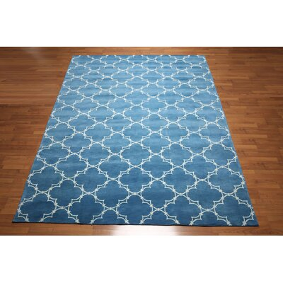 One-of-a-Kind Hadaway Hand-Knotted Wool Blue Area Rug