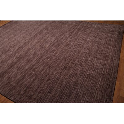 One-of-a-Kind Hailes Hand-Knotted Wool Tone on Tone Aubergine Area Rug