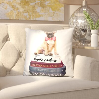 Janicki Frenchie Books Throw Pillow