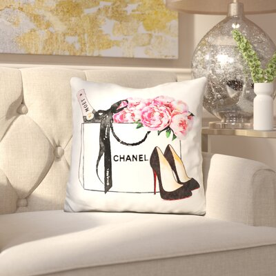 Isley Shopping Bag with Champagne Shoes Peony Throw Pillow