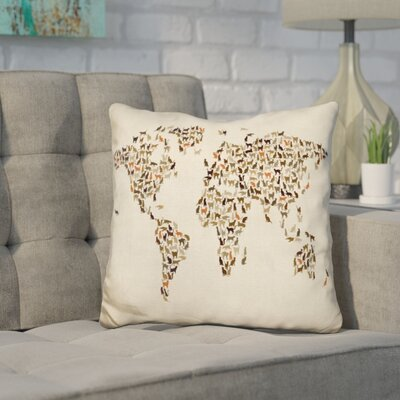 Corlew World Map Cats Throw Pillow Color: Cream/Brown