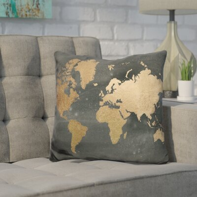Javier Foil World Map Throw Pillow Color: Golden