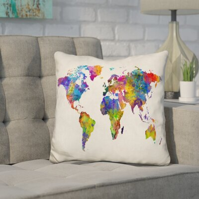 Corlew World Map Watercolor Throw Pillow