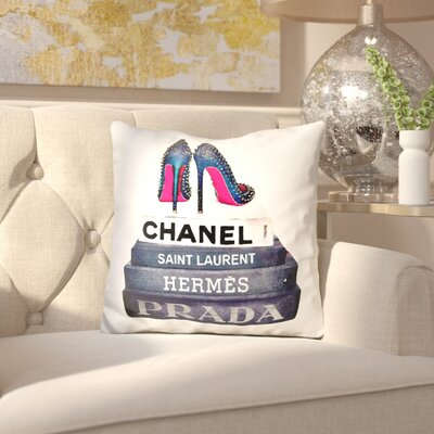 Jaquez Book Stack Stud Shoes Throw Pillow