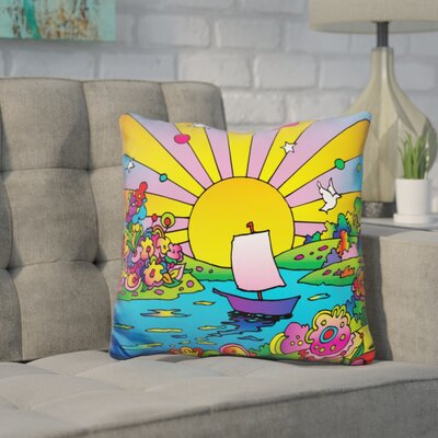 Corinna Boat Color Throw Pillow Color: Yellow/Blue