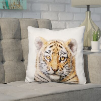 Hoekstra Baby Tiger Throw Pillow Color: Brown