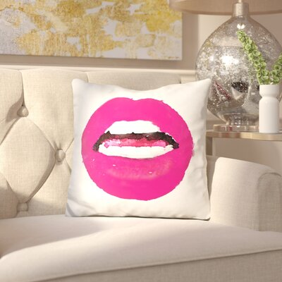 Ishee Lips Throw Pillow Color: Red