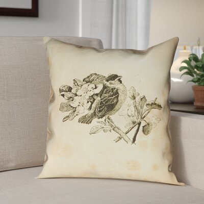 Venezia Vintage Bird Throw Pillow Size: 14 x 14