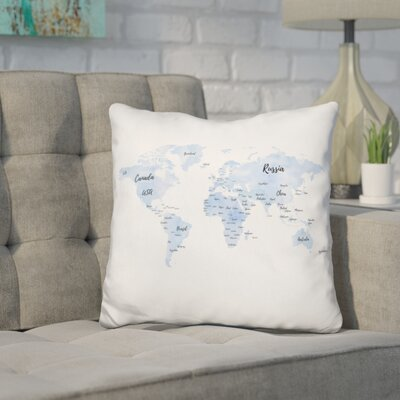 Corlew World Map with Countries Throw Pillow Color: White/Blue