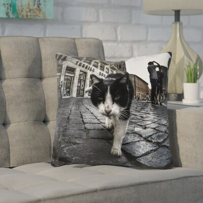 Kennamer Street Cat Throw Pillow