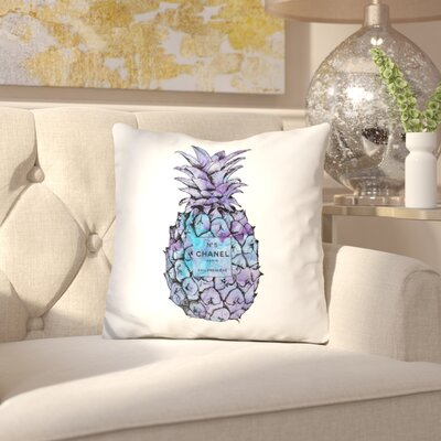Jaheim Pineapple Throw Pillow Color: White/Blue