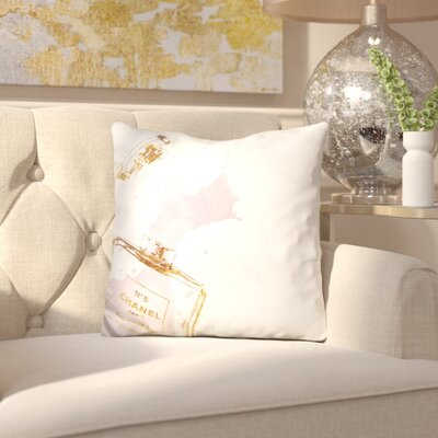 Melia Perfume Splash Throw Pillow Color: Gold Navy