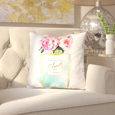Melia Perfume Flower Peonies Throw Pillow Color: White/Orange